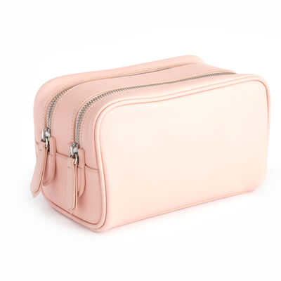 Royce Blush Pink Leather Double-Zip Toiletry Bag, , default