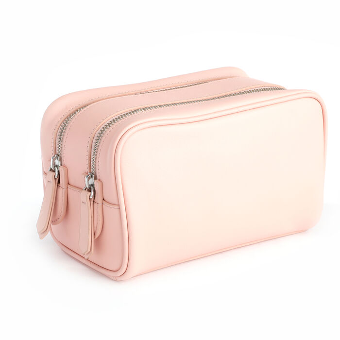 Royce Blush Pink Leather Double-Zip Toiletry Bag