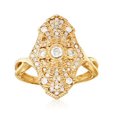.50 ct. t.w. Diamond Vintage-Style Ring in 18kt Gold Over Sterling