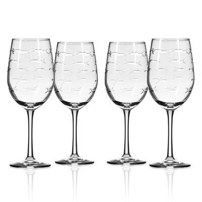 "Rolf Glass ""School of Fish"" Set of 4 Wine Glasses, , default"