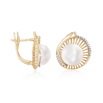 10-10.5mm Cultured Pearl and .11 ct. t.w. Diamond Spiral Earrings in 14kt Yellow Gold, , default