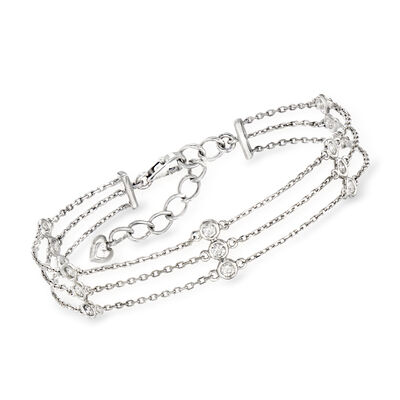 C. 1990 Vintage .75 ct. t.w. Diamond Triple-Strand Station Bracelet in 14kt White Gold