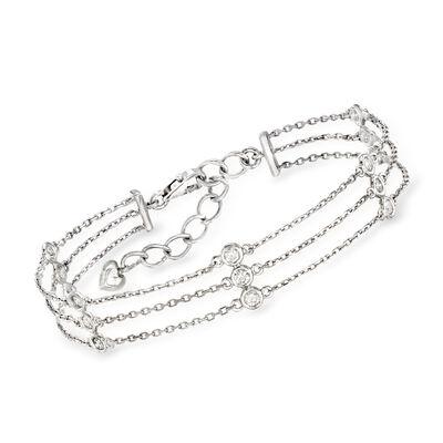 C. 1990 Vintage .75 ct. t.w. Diamond Triple-Strand Station Bracelet in 14kt White Gold, , default