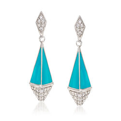 "Belle Etoile ""Pyramid"" Turquoise-Blue Enamel and 1.60 ct. t.w. CZ Earrings in Sterling Silver, , default"