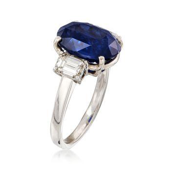 C. 1990 Vintage 6.92 Carat Sapphire and 1.05 ct. t.w. Diamond Ring in Platinum. Size 6.5, , default