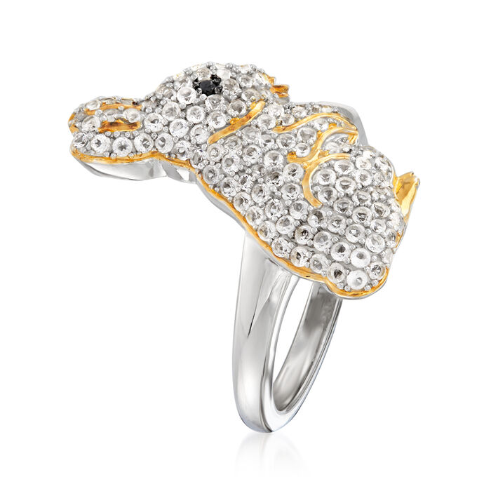 1.10 ct. t.w. White Topaz Bunny Ring in Two-Tone Sterling Silver