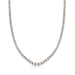 "C. 2000 Vintage 8.00 ct. t.w. Diamond Tennis Necklace in 14kt White Gold. 17"", , default"