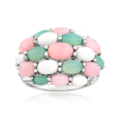 Pink Opal and White and Blue Agate Ring in Sterling Silver, , default