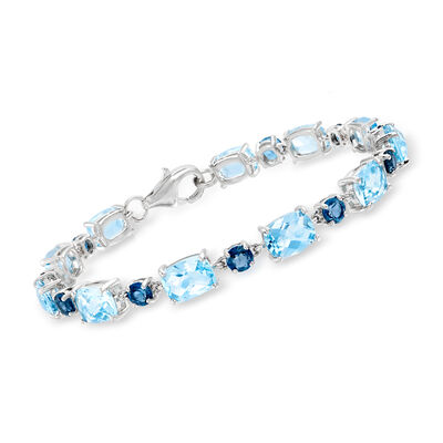 19.50 ct. t.w. London and Sky Blue Topaz Bracelet in Sterling Silver