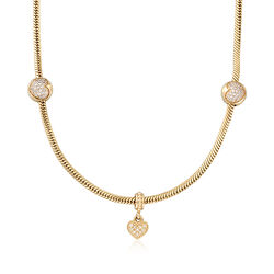 "C. 2010 Vintage Pandora 1.15 ct. t.w. CZ Heart Bead Necklace With Diamond Accents in 14kt Gold. 16.5"", , default"