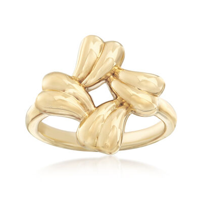 14kt Yellow Gold Wavy Square-Shaped Ring, , default