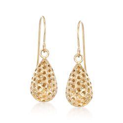 14kt Yellow Gold Openwork Teardrop Earrings, , default