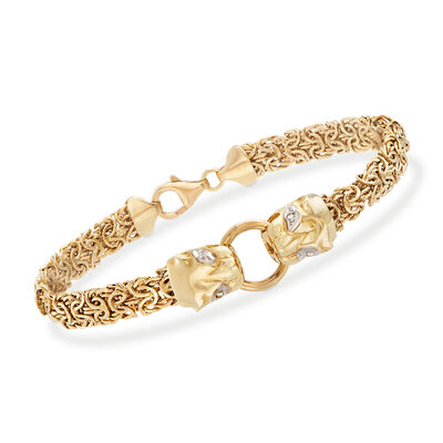 14kt Yellow Gold Double Panther Head Byzantine Bracelet with Diamond Accents, , default