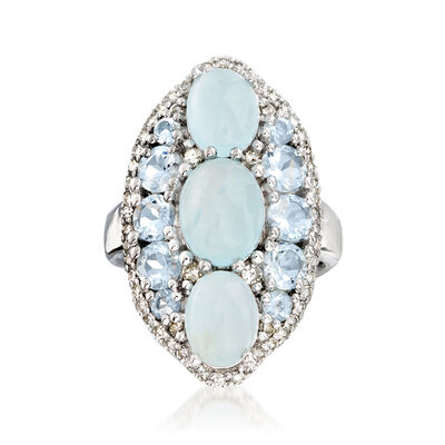 6.10 ct. t.w. Aquamarine and .39 ct. t.w. Diamond Ring in Sterling Silver