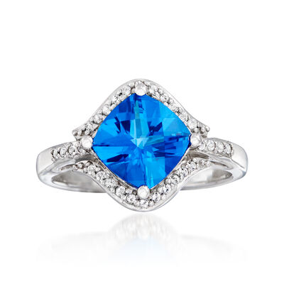 Swarovski Crystal 2.20 ct. t.w. Blue and White Topaz Ring in Sterling Silver, , default
