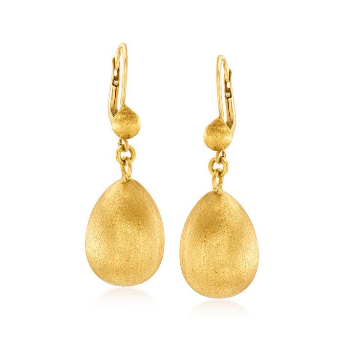 C. 1970 Vintage 14kt and 18kt Yellow Gold Teardrop Earrings, , default