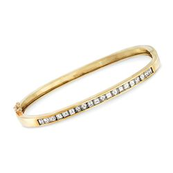 "C. 1990 Vintage 2.00 ct. t.w. Square Diamond Bangle Bracelet in 14kt Yellow Gold. 6.5"", , default"