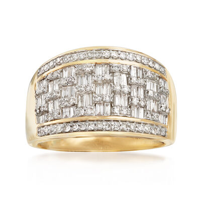 1.00 ct. t.w. Round and Baguette Diamond Basketweave Ring in 14kt Yellow Gold, , default