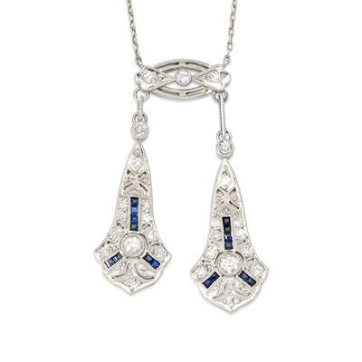 C. 1910 Vintage .50 ct. t.w. Round European-Cut Diamond Necklace with Sapphires in Platinum, , default