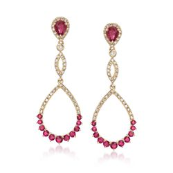 .80 ct. t.w. Ruby and .31 ct. t.w. Diamond Open Drop Earrings in 14kt Yellow Gold , , default