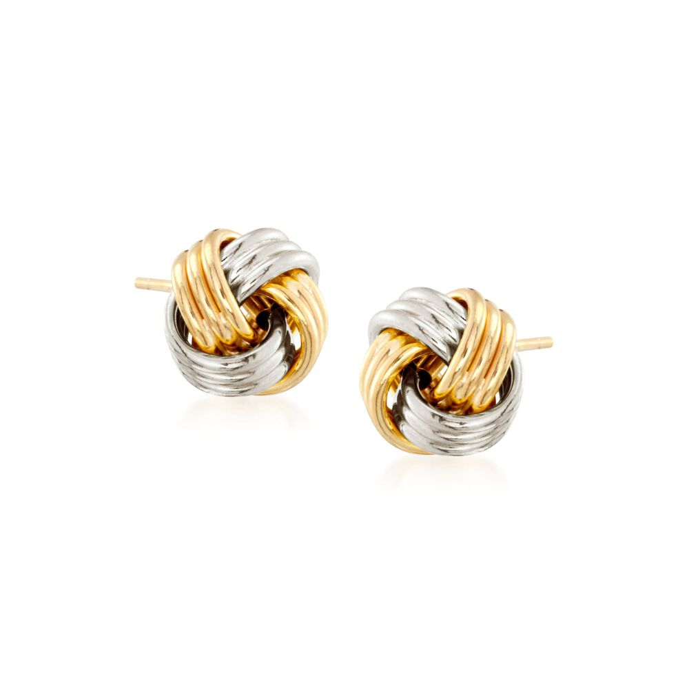 26cc061406837 14kt Two-Tone Gold Love Knot Stud Earrings