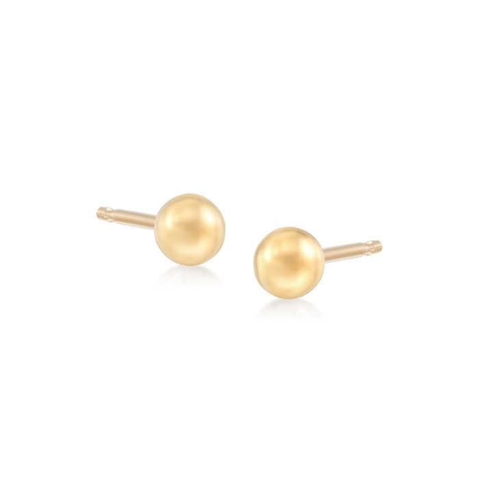 4-6mm 14kt Yellow Gold Ball Stud Jewelry Set: Three Pairs of Earrings