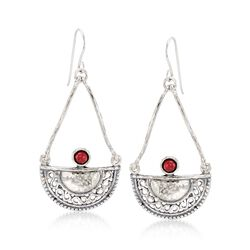 1.00 ct. t.w. Garnet Openwork Teardrop Earrings in Sterling Silver, , default
