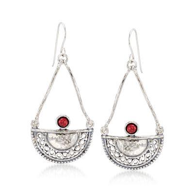 1.00 ct. t.w. Garnet Openwork Teardrop Earrings in Sterling Silver, , default