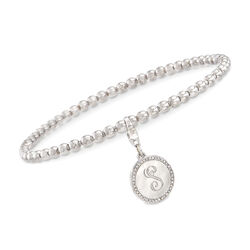 Sterling Silver Bead Stretch Bracelet With .10 ct. t.w. Diamond Engravable Charm, , default