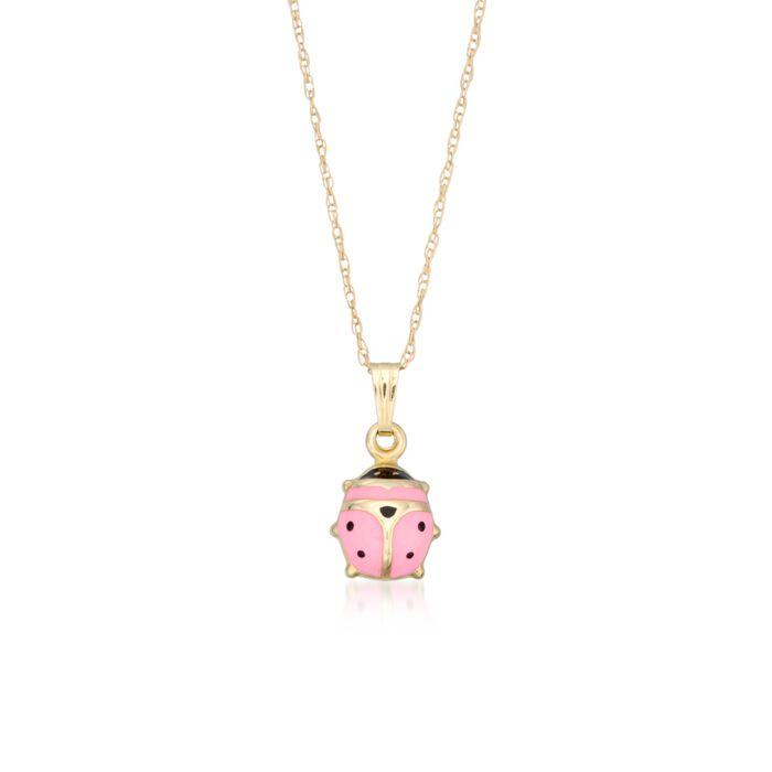 "Child's Pink Enamel Ladybug Pendant Necklace in 14kt Yellow Gold. 15"" , , default"