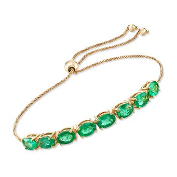 3.50 ct. t.w. Emerald Bolo Bracelet in 14kt Yellow Gold, , default