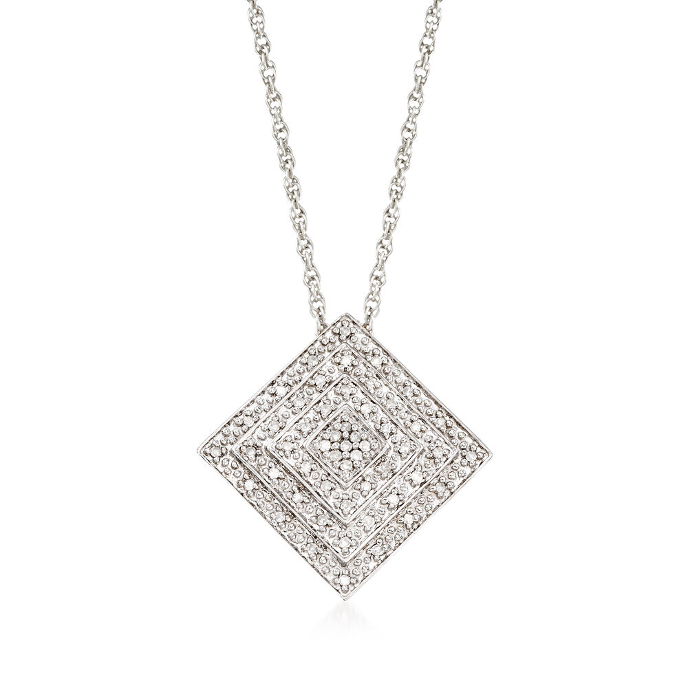 15 Ct Tw Diamond Square Pendant Necklace In Sterling Silver 18
