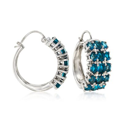 7.60 ct. t.w. Blue Topaz and .23 ct. t.w. Diamond Hoop Earrings in Sterling Silver, , default