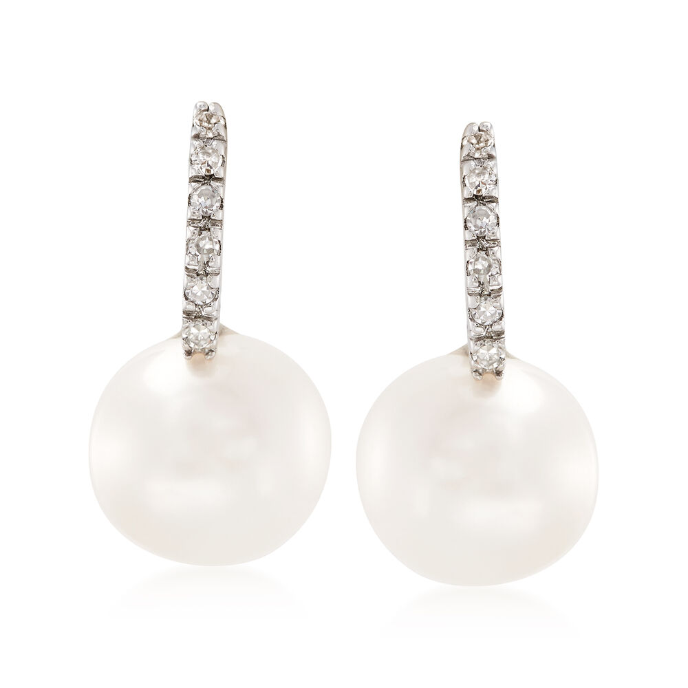 8mm Cultured Pearl Earrings With Diamond Accents In 14kt White Gold Default