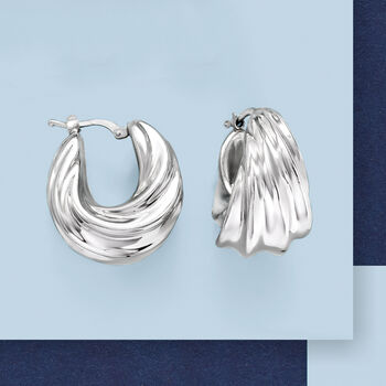 "Italian Sterling Silver Pleated Twist Hoop Earrings. 1"", , default"