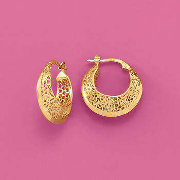 "Italian 18kt Yellow Gold Floral Openwork Hoop Earrings. 3/4"""