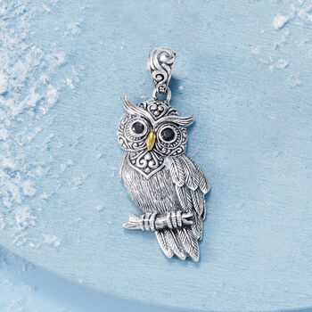 Sterling Silver Owl Pendant with Black Onyx