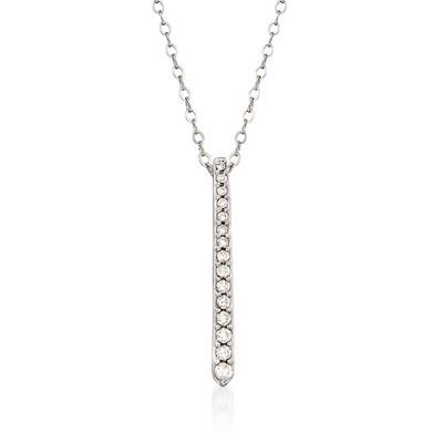 .16 ct. t.w. Diamond Linear Bar Pendant Necklace in 14kt White Gold, , default
