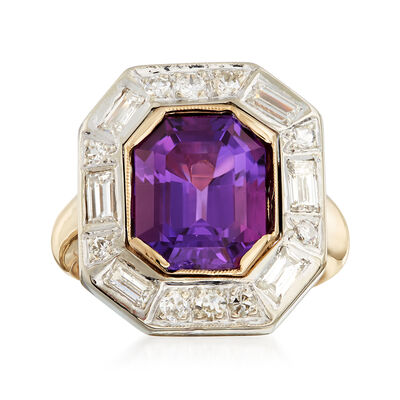 C. 1980 Vintage 4.95 Carat Amethyst and 1.10 ct. t.w. Diamond Ring in 14kt Yellow Gold