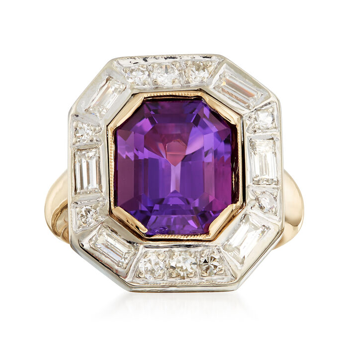 C. 1980 Vintage 4.95 Carat Amethyst and 1.10 ct. t.w. Diamond Ring in 14kt Yellow Gold. Size 5.5