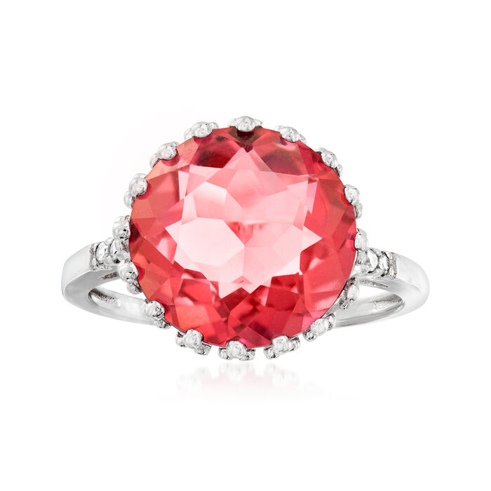 4.90 Carat Pink Quartz Crown Ring with Diamond Accents in Sterling Silver