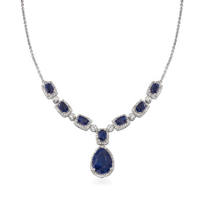 10.80 ct. t.w. Sapphire and 1.00 ct. t.w. White Topaz Drop Necklace in Sterling Silver, , default