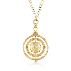 "Judith Ripka ""Marisol"" Canary Yellow Crystal and .18 ct. t.w. Diamond Circle Pendant Necklace With Yellow Sapphire Accents in 18kt Gold. 24"", , default"