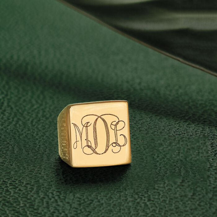Italian Square Flat-Top Monogram Ring in 14kt Yellow Gold