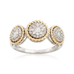 .51 ct. t.w. Diamond Halo Ring in Sterling Silver and 14kt Yellow Gold, , default