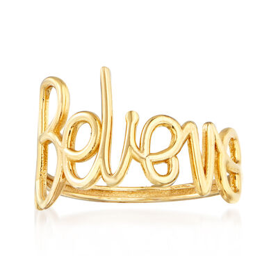 "Italian 14kt Yellow Gold ""Believe"" Ring"