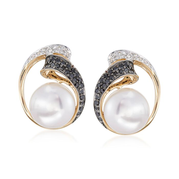 9.5-10mm Cultured Pearl and .37 ct. t.w. Black and White Diamond Frame Earrings in 14kt Yellow Gold