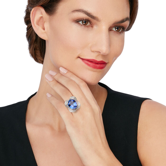18.00 Carat Tanzanite and .87 ct. t.w. Diamond Flower Ring in 18kt White Gold
