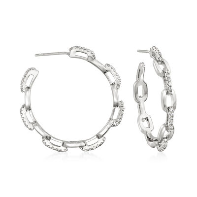 .70 ct. t.w. CZ Paper Clip Link Open-Hoop Earrings in Sterling Silver
