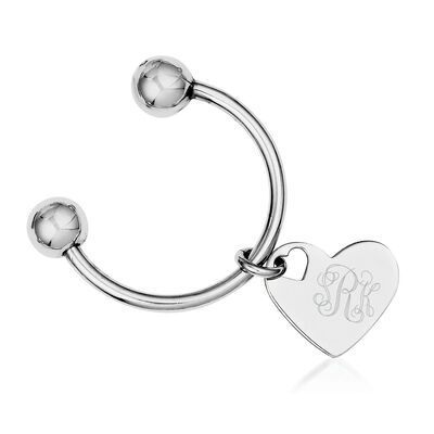 Sterling Silver  Three-Initial Engravable Heart Key Chain
